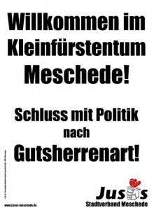 Der Mescheder Bürgermeister Uli Hess von der CDU hat die die Juso-Plakate im Kommunalwahlkampf 2004 kritisiert.