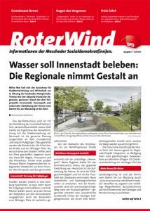 """""""RoterWind"""": Die Titelseite der ersten Ausgabe des neuen Magazins der Mescheder Sozialdemokraten."""