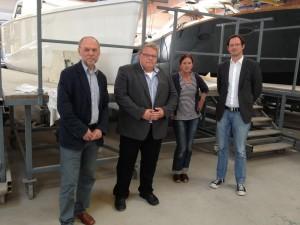 SPD-Fraktionsvorsitzender Reinhard Schmidt, SPD-Stadtverbandsvorsitzender Jürgen Lipke, SQ-Geschäftsführerin Yvonne Stelle und SPD-Bundestagskandidat Dirk Wiese.