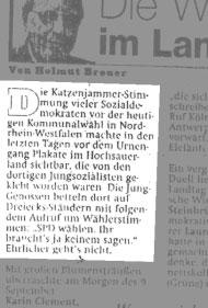 """Nachtrag: Nach der Sendung auf West 3 berichtete auch die """"Welt am Sonntag"""" (12. September 1999)"""